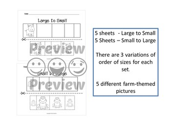 Sort by Size Activity Sheets - Color, Cut, and Paste - Farm Theme