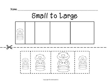 Sort by Size Activity Sheets - Color, Cut, and Paste - Groundhog Day