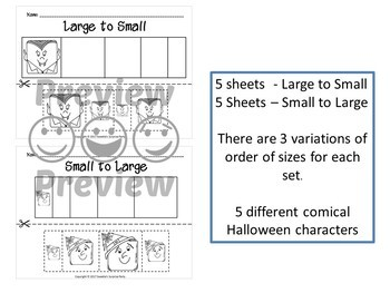 Sort by Size Activity Sheets - Color, Cut, and Paste - Halloween Theme