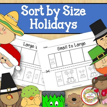 Sort by Size Activity Sheets - Color, Cut, and Paste - Holidays