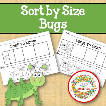 Sort by Size Activity Sheets - Color, Cut, and Paste - Insect / Bug Theme