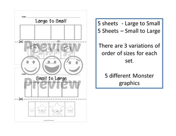 Sort by Size Activity Sheets - Color, Cut, and Paste - Monster Theme