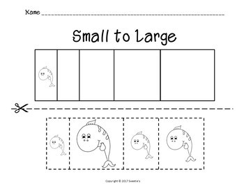 Sort by Size Activity Sheets - Color, Cut, and Paste - Ocean Theme