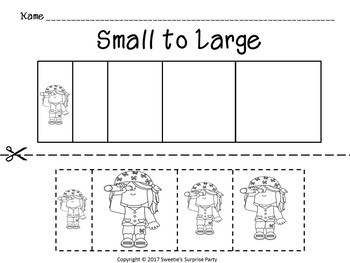 Sort by Size Activity Sheets Color Cut and Paste