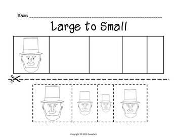 Sort by Size Activity Sheets - Color, Cut, and Paste - Presidents' Day Theme