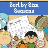 Sort by Size Activity Sheets - Color, Cut, and Paste - Seasons