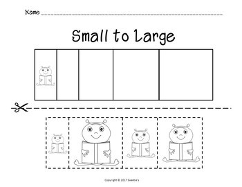 Sort by Size Activity Sheets - Color, Cut, and Paste - Space Theme