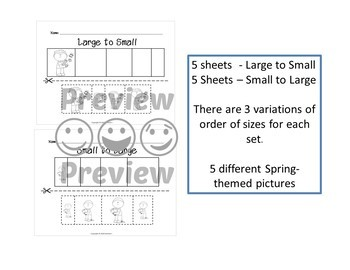 Sort by Size Activity Sheets - Color, Cut, and Paste - Spring Theme