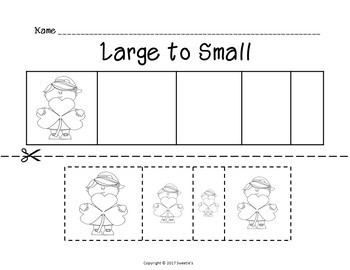 Sort by Size Activity Sheets - Color, Cut, and Paste - St Patrick's Day Theme