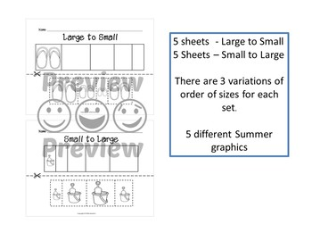 Sort by Size Activity Sheets - Color, Cut, and Paste - Summer Theme