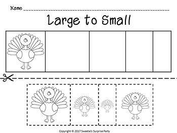 Sort by Size Activity Sheets - Color, Cut, and Paste - Thanksgiving Theme