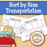 Sort by Size Activity Sheets - Color, Cut, and Paste - Tra