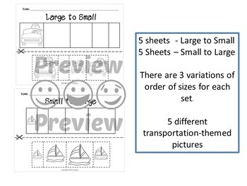 Sort by Size Activity Sheets - Color, Cut, and Paste - Transportation Theme