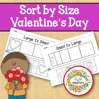 Sort by Size Activity Sheets - Color, Cut, and Paste - Valentine Theme