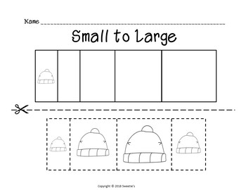 Sort by Size Activity Sheets - Color, Cut, and Paste - Winter Clothes Theme