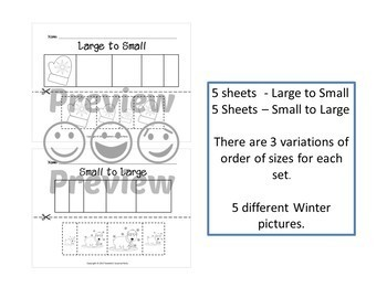Sort by Size Activity Sheets - Color, Cut, and Paste - Winter Theme
