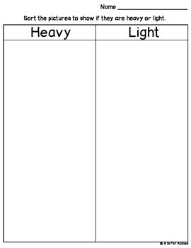 Sort by Weight: Heavy or Light {FREEBIE}