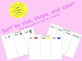 Sort by size, shape, and color. Cut and paste or center!