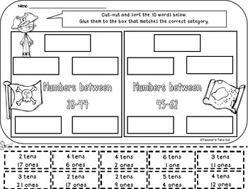 Sort into Categories using Literacy and Math Cut and Paste Worksheets