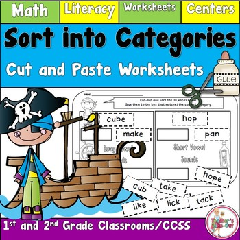 Sort into Categories using Literacy and Math Cut and Paste