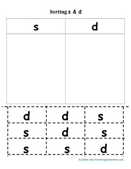 Sort letter s and d