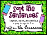 """""""Sort the Sentences"""" Literacy Center - Fragments and Run-Ons"""