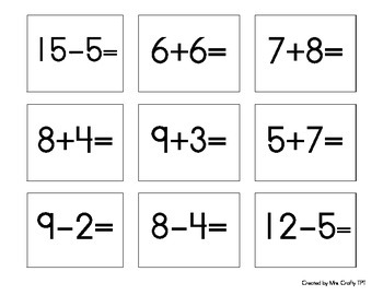 Sort the Tens Addition and Subtraction Search, Sort, Sit Activity