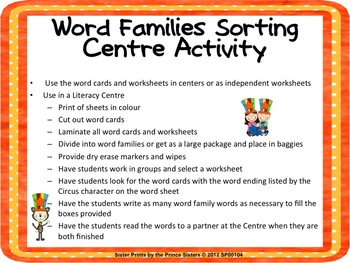 Sort the Word Families - Circus