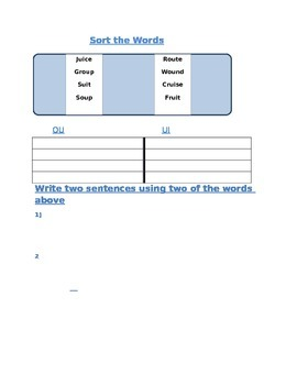 """Sort the words phonics page- """"ui"""" and """"ou"""""""