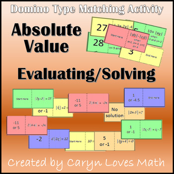 Absolute Value Solving Equation/Evaluating Expressions~Domino Matching Activity