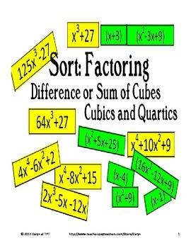 Factoring -Difference and Sum of Cubes- Cubics, Quartics E
