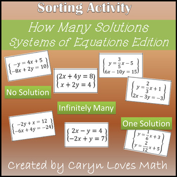 Systems of Linear Equations~How Many Solutions~One~No Solution~Many