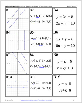 Parallel, Perpendicular or Intersecting Lines Sorting Activity - Using Slope