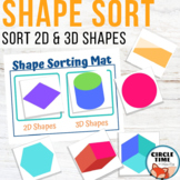 Sorting 2D & 3D Shapes 2D & 3D Shape Sort 1st Grade Kinder