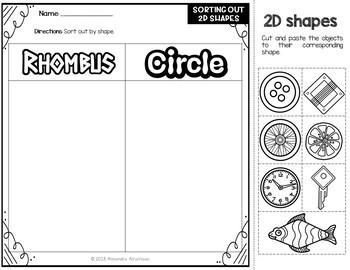 sorting d shapes  kindergarten worksheets by alexandra alramlawi sorting d shapes  kindergarten worksheets