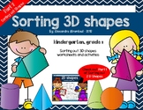 Sorting 3D Shapes - Kindergarten Worksheets