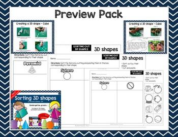 Sorting 3D Shapes - Kindergarten Worksheets