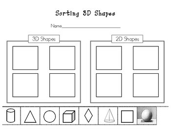 Worksheets 3d Shapes Worksheets sorting 3d shapes worksheet by kinder learning garden teachers worksheet