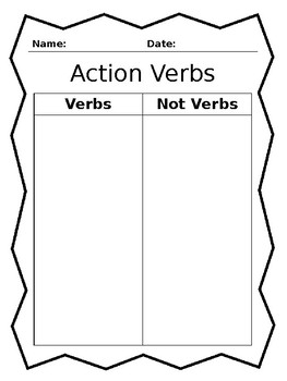 Sorting Action Verbs