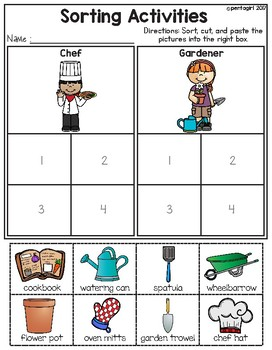 Sorting Activities Community Helper Chef and Gardener