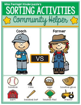 Sorting Activities Community Helper Coach and Farmer