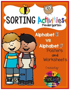 Sorting Activities Posters and Worksheets Alphabet E and F