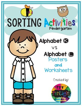 Sorting Activities Posters and Worksheets Alphabet K and L
