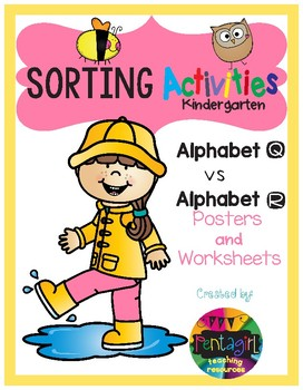 Sorting Activities Posters and Worksheets Alphabet Q and R