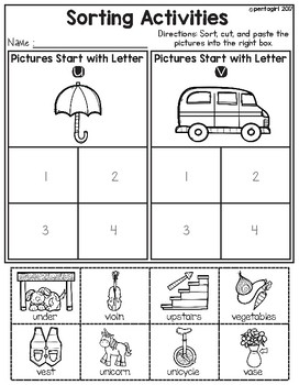Sorting Activities Posters and Worksheets Alphabet U and V