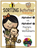 Sorting Activities Posters and Worksheets Alphabet Y and Z
