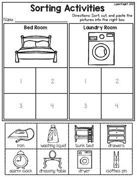 sorting activities posters and worksheets bedroom and laundry room. Black Bedroom Furniture Sets. Home Design Ideas
