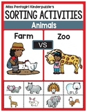 Sorting Activities Posters and Worksheets Farm and Zoo Animals