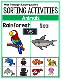 Sorting Activities Posters and Worksheets Rainforest and Sea Animals