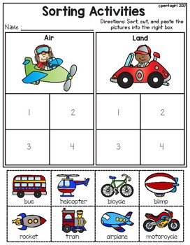 Sorting Activities Posters and Worksheets Transportation Air and Land